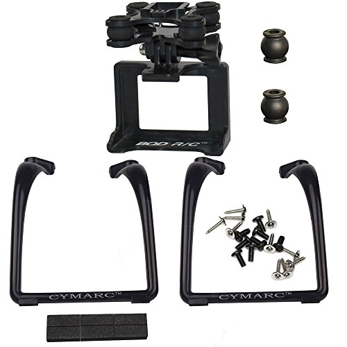 Black Updated Legs & Action Camera Gimbal Mount Holder Adapter Bracket for Syma X8 X8G X8HG X8C X8HC X8W X8HW MJX X101 X102H RC Drone Venture Compatible ...
