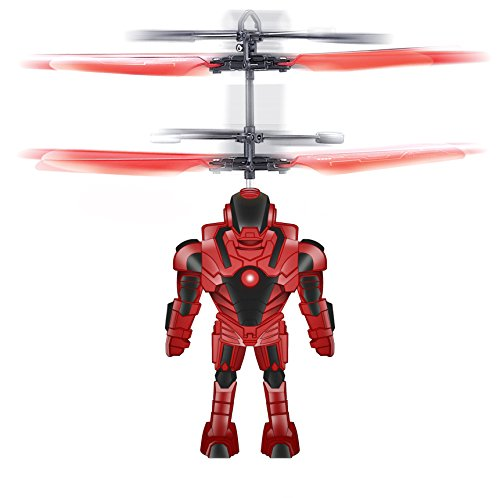 Robot Brigade Space Mini Drone Flying Helicopter Toy, Red ...