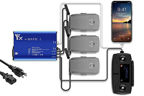 Fstop Labs Mavic 2 Battery Charger, Accessories for DJI Mavic 2 Pro Zoom, 5 in 1 Rapid Parallel Battery Charging Hub Station, 3 Batteries, 2 USB Ports